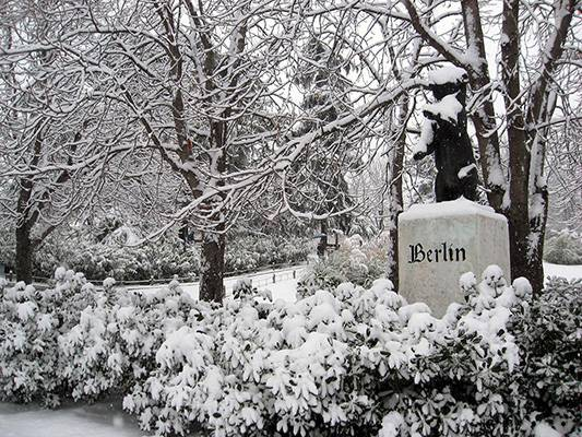 "Parque de Berlín (""Berlin Park"") in Madrid (Spain) after a snowfall"